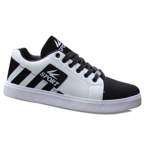 Fashionable Striped and Hit Colour Design Men's Casual Shoes - WHITE 42