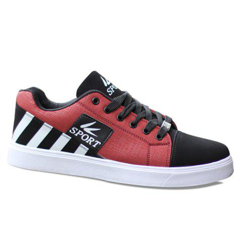 Fashionable Striped and Hit Colour Design Men's Casual Shoes - WINE RED 42