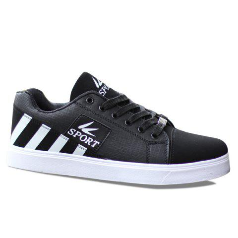 Fashionable Striped and Hit Colour Design Men's Casual Shoes - BLACK 43