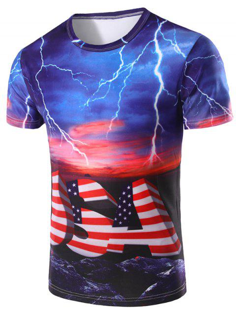 Men's 3D Stripe Printed Round Neck Short Sleeve T-Shirt - COLORMIX L