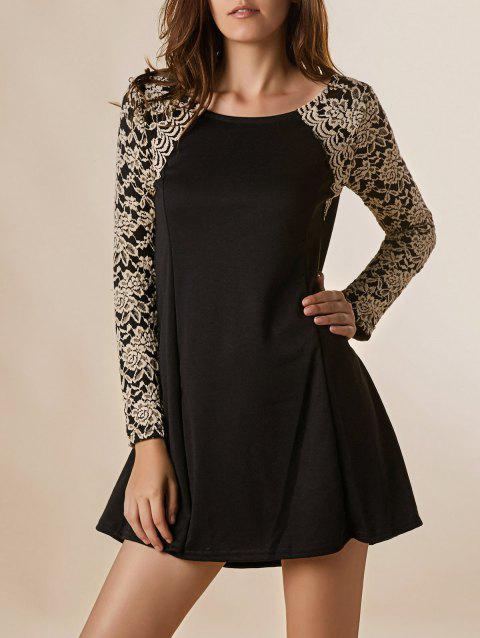 f0cb8496787 Graceful Long Sleeve Round Collar Lace Splicing Nipped Waist Wide Hem Dress  - BLACK ONE SIZE