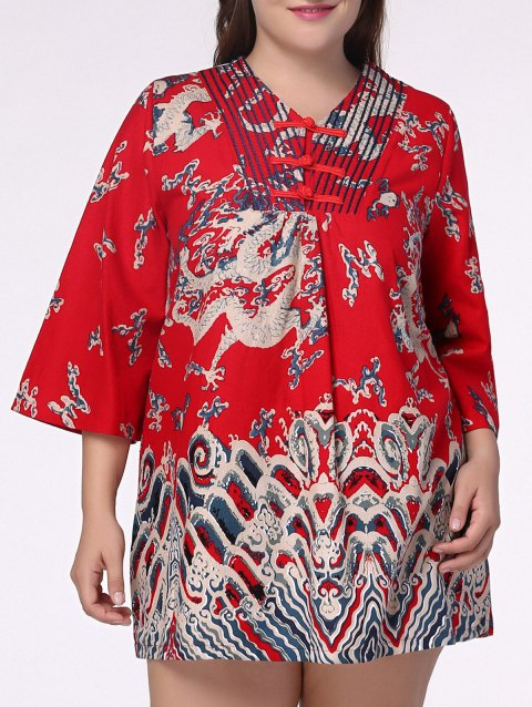 Ethnic Plus Size Chinese Dragon Print V Neck Women\'s Dress
