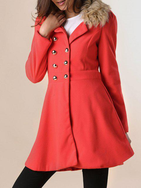 Fur Embellished Double-breasted Waisted Long Sleeves Slimming Women's Coat - JACINTH L