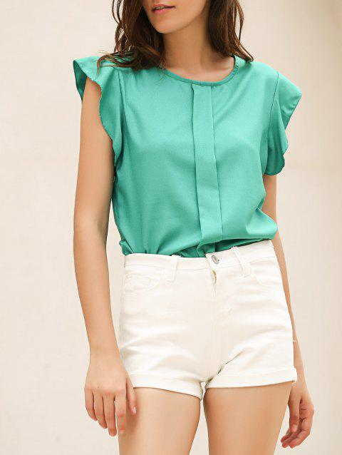 73b55d76b0fb Candy Color Loose Leisure Women s Chiffon Short Tulip Sleeve Blouse Tops -  GREEN M