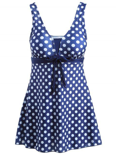 d5c7ec4361e Stylish Plus Size Women s Bowknot Embellished Polka Dot One-Piece Swimsuit  - PURPLISH BLUE 4XL