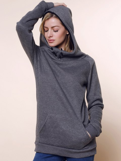Fashionable Long Sleeve Front Pockets Buttons Design Solid Color Hoodie - GRAY XL