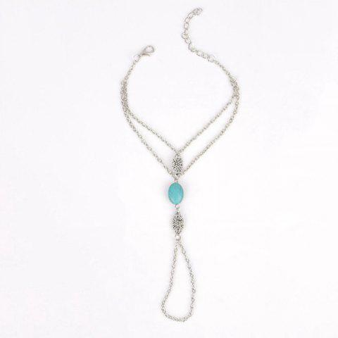 Faux Turquoise Bead Hollow Out Flower Anklet - SILVER