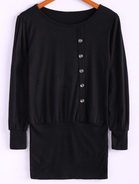 Simple Scoop Neck Solid Color Puff Long Sleeve Cotton Women's Dress With Side Button - BLACK ONE SIZE