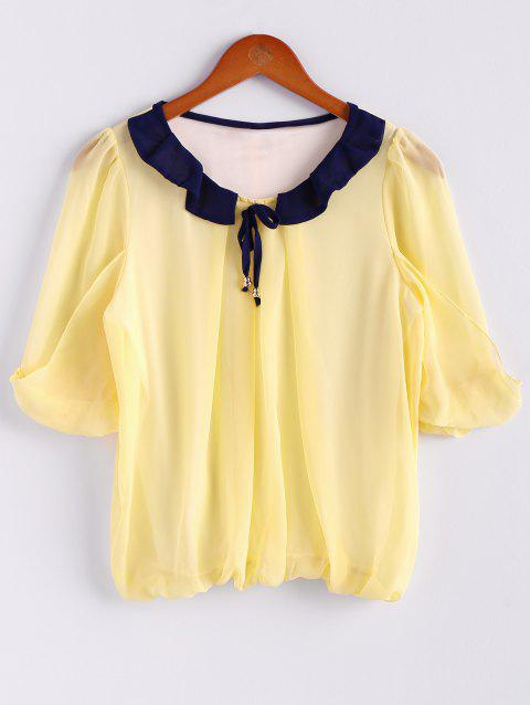 Chiffon Color Block Sweet Style Scoop Neck 3/4 Sleeves Women's Blouse - YELLOW M