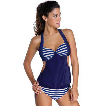 Halter Hollow Out Stripe Tankini Set
