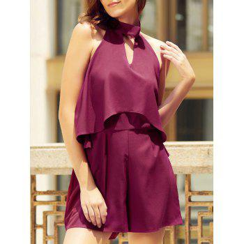 Trendy Halter Neck Sleeveless Solid Color Backless Flounced Women's Romper