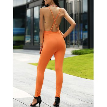 Stylish Women's Plunging Neck Backless Jumpsuit