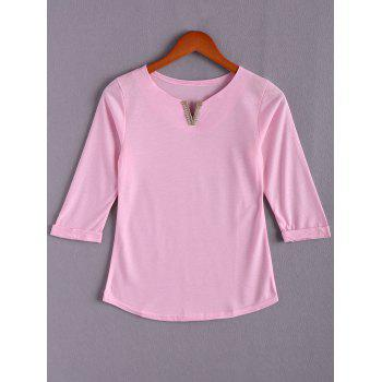Stylish V Neck 3/4 Sleeve Loose Women's T-Shirt