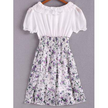Spring New Arrival Sweet and Lovely Floral Patterns High Elastic Waist Short Sleeve Chiffon Dress - RED