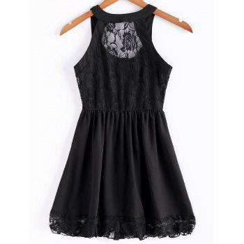 Lace Splicing Straps Single-Breasted Solid Color Stylish Women's Dress - BLACK L