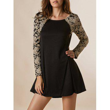 Graceful Long Sleeve Round Collar Lace Splicing Nipped Waist Wide Hem Dress