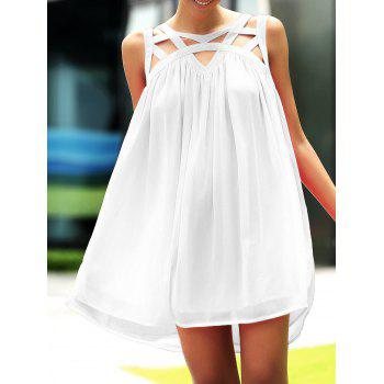 Stylish Round Neck Sleeveless Hollow Out Design Summer Dress For Women