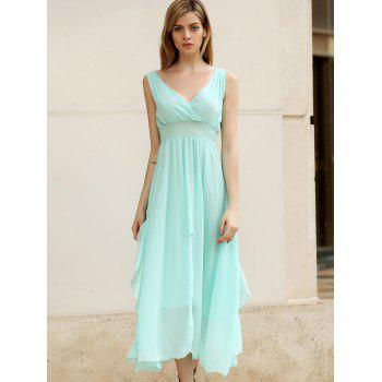 Women's Slimming Deep Plunging Neck Solid Color Chiffon Summer Dresses - SKY BLUE L