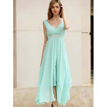 Women's Slimming Deep Plunging Neck Solid Color Chiffon Summer Dresses - SKY BLUE SKY BLUE