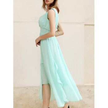 Women's Slimming Deep Plunging Neck Solid Color Chiffon Summer Dresses
