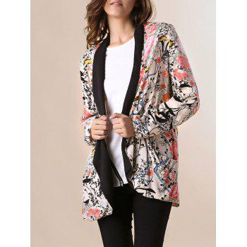 Peach Blossom Print Long Sleeve Tunr-Down Collar Trendy Style Women's Blazer
