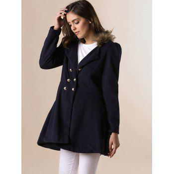 Fur Embellished Polo Callor Double-breasted Waisted Long Sleeves Slimming Women's Coat - PURPLISH BLUE M