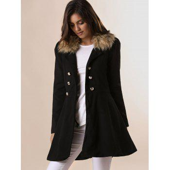 Fur Embellished Polo Callor Double-breasted Waisted Long Sleeves Slimming Women's Coat - BLACK M