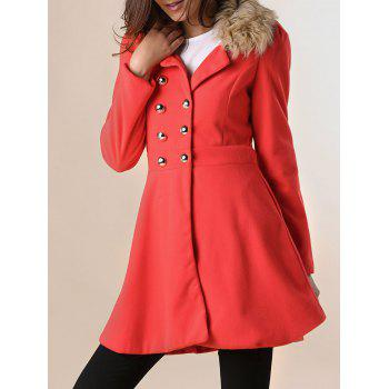 Fur Embellished Polo Callor Double-breasted Waisted Long Sleeves Slimming Women's Coat