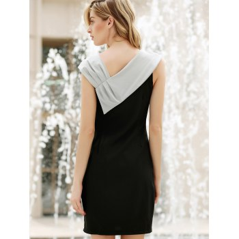 Women's Elegant Bowknot Short Sleeve Sweet Black Dress - BLACK S