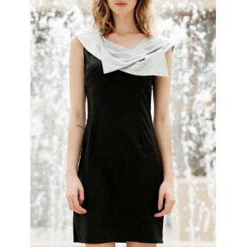 Women's Elegant Bowknot Short Sleeve Sweet Black Dress