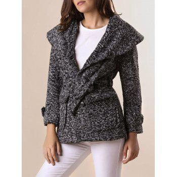 Graceful Thicken Turn-Down Collar Worsted Double-Breasted Long Sleeve Coat with Belt For Women