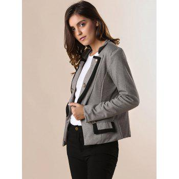 Ladylike Stand Collar Solid Color Double-breasted Long Sleeves Slimming Women's Blazer - GRAY L