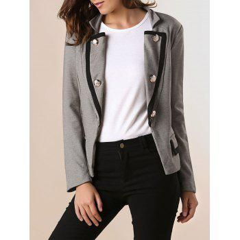 Ladylike Stand Collar Solid Color Double-breasted Long Sleeves Slimming Women's Blazer