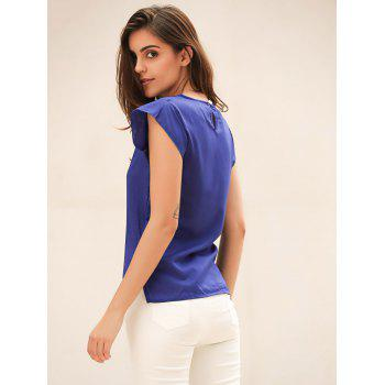 Candy Color Loose Leisure Women's Chiffon Short Tulip Sleeve Blouse Tops - BLUE BLUE