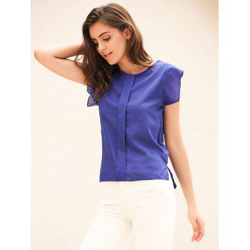 Candy Color Loose Leisure Women's Chiffon Short Tulip Sleeve Blouse Tops - M M