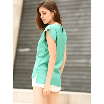 Candy Color Loose Leisure Women's Chiffon Short Tulip Sleeve Blouse Tops - S S