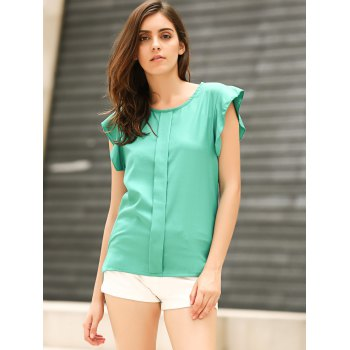 Candy Color Loose Leisure Women's Chiffon Short Tulip Sleeve Blouse Tops - GREEN S
