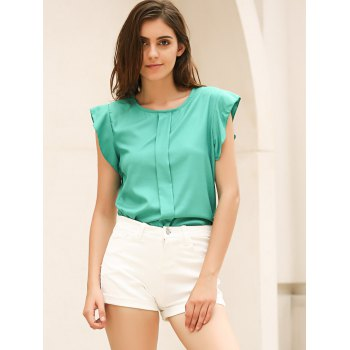 Candy Color Loose Leisure Women's Chiffon Short Tulip Sleeve Blouse Tops - L L