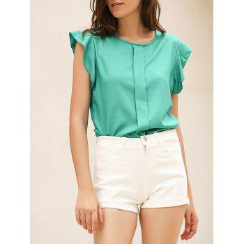 Candy Color Loose Leisure Women's Chiffon Short Tulip Sleeve Blouse Tops - GREEN L