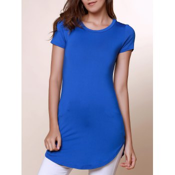 Brief Round Neck Short Sleeve Asymmetrical Solid Color Women's T-Shirt