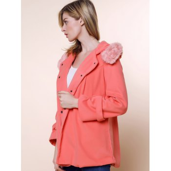 Stunning Style Worsted Long Sleeves Bow Tie Solid Color Women's Coat - PINK M
