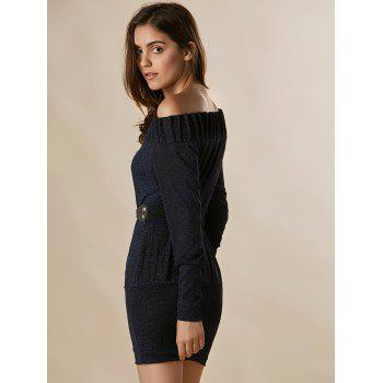 Solid Color Sexy Off-The-Shoulder Spun Gold Long Sleeve Women's Dress - BLUE M