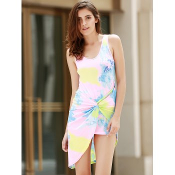 Alluring Plunging Neck Sleeveless Asymmetrical Printed Women's Dress - COLORMIX S