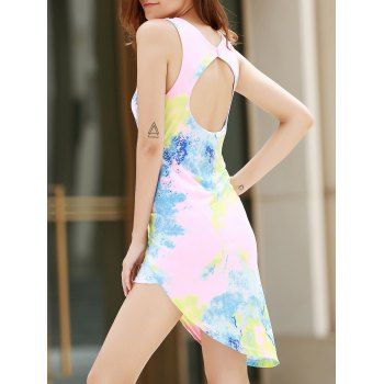 Alluring Plunging Neck Sleeveless Asymmetrical Printed Women's Dress