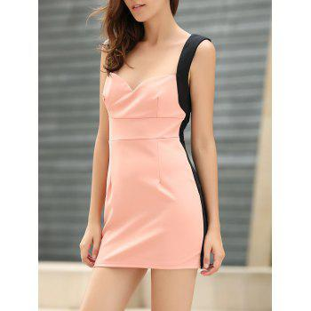 Women's Glamour Low-Cut Four Buttons Color Matching Sleeveless Bodycon Dress
