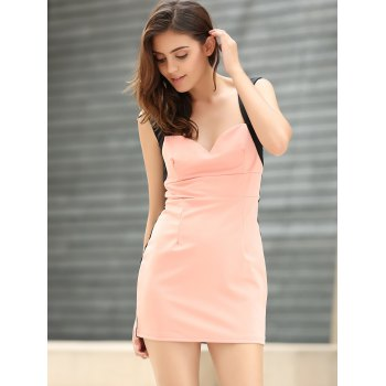 Women's Glamour Low-Cut Four Buttons Color Matching Sleeveless Bodycon Dress - PINK ONE SIZE