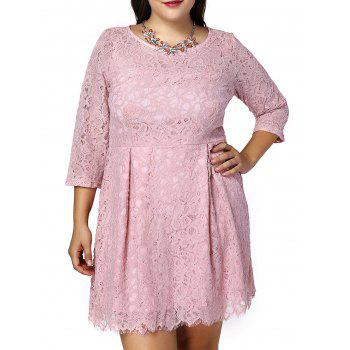 Sweet Plus Size 3/4 Sleeve Scoop Neck Lace Design Women's Dress