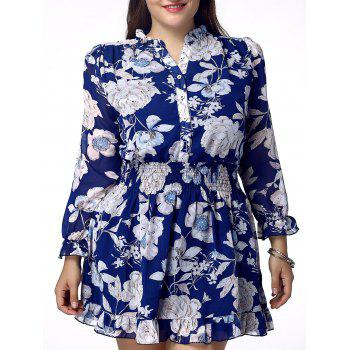 Sweet Plus Size Stand Collar Flounced Floral Print Women's Dress