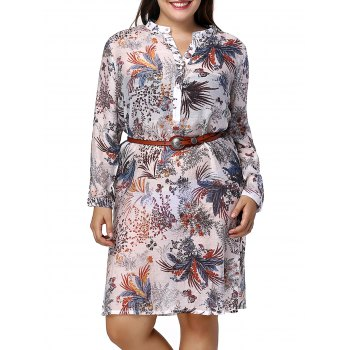 Chic Plus Size Long Sleeve Side Slit Plant Print Women's Shirt