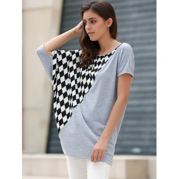 Rhombus Pattern Laconic Scoop Neck Batwing Sleeve Women's T-Shirt - GRAY ONE SIZE